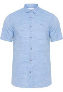 Camisa Masculina Maquinetado Com Silk - Azul