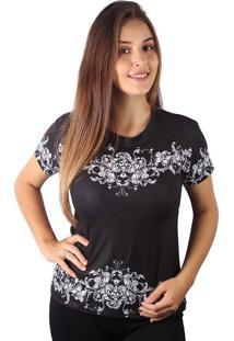 Camiseta Baby Look Barroco Floral Ornamental Md06