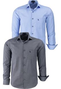 Kit 2 Camisas Social Amil Micropigmentada 1668 Chumbo/Azul Bebê