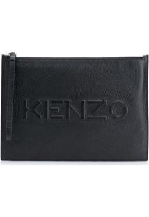 Kenzo Clutch Com ZãPer E Logo Gravado - Preto