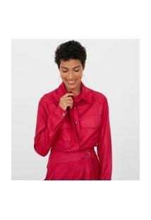 Camisa Lisa Com Bolsos | Marfinno | Vermelho | Pp