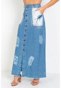 Saia Longa Com Botões Jeans Moda Evangélica