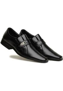 Sapato Social Masculino Elástico Metal Liso Leve Conforto - Masculino-Preto