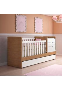Berço/Bicama Multifuncional Cléo - Carolina Baby - Branco / Amadeirado