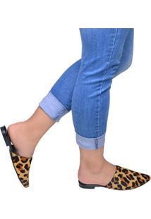 Sapato Feminino Mule Anacapri Preto E Animal Print