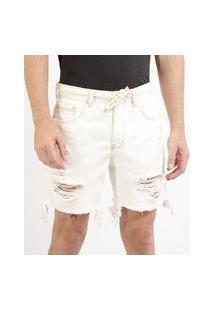 Bermuda Jeans Masculina Reta Destroyed Com Bolsos E Cadarço Branca