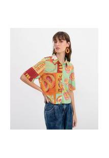 Camisa Curta Estampa Frutas | Blue Steel | Verde | P