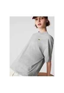 Camiseta Feminina Lacoste Live Em Algodão Com Modelagem Solta Cinza