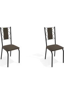 Conjunto Com 2 Cadeiras De Cozinha Lisboa Preto E Marrom