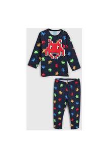 Pijama Kyly Longo Infantil Monstrinho Azul-Marinho