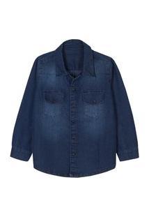 Camisa Infantil Manga Longa Jeans Escuro Estonado