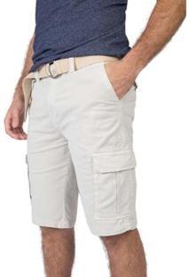 Bermuda Taco Cargo Flex Com Cinto Masculino - Masculino-Off White