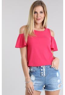 Blusa Open Shoulder Canelada Pink