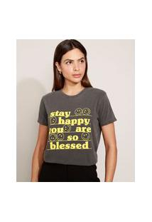 "T-Shirt Feminina Mindset Stay Happy"" Manga Curta Decote Redondo Chumbo"""
