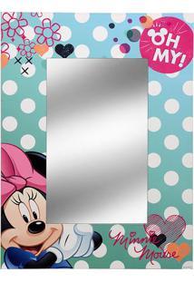 Espelho Minnie®- Espelhado & Verde Água- 40X30X1Cm