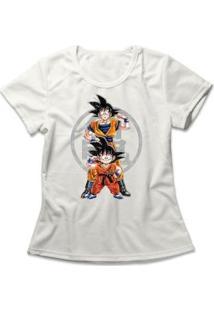 Camiseta Feminina Goku Fases - Feminino-Off White