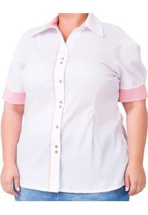 Camisa Confidencial Extra Plus Size De Tricoline Com Viés Listrado Feminina - Feminino-Branco