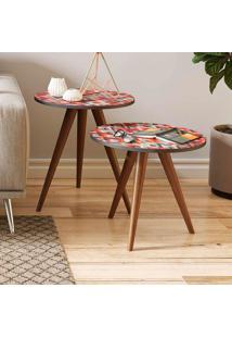 Mesa De Canto 400 Retrô – Be Mobiliário - Espresso / Estampa Vermelha