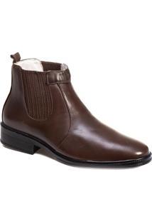Botina Tchwm Shoes Couro Palmilha Gel Macia Confortavel Marrom - Marrom - Masculino - Dafiti