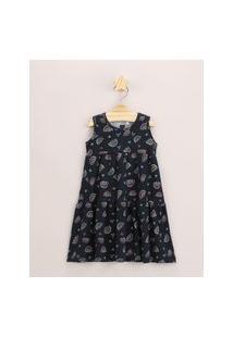 Vestido Infantil Estampado De Arco-Íris Com Recortes Sem Manga Azul Marinho