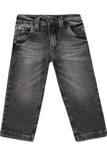 Calça Masculino Infantil Jeans - Masculino-Preto