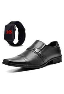 Sapato Social Com Relógio New Dubuy 710Mr Preto