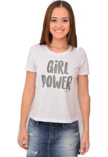 T-Shirt Urban Lady Estampada Girl Power Branca