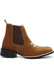 Bota Texana Valente Boots Cano Curto Elastico Masculina - Masculino-Caramelo