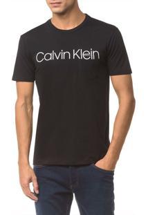 Camiseta Slim Calvin Klein Sobreposto Bo - Preto - P