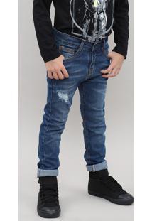Calça Jeans Infantil Destroyed Com Bolsos Azul Médio