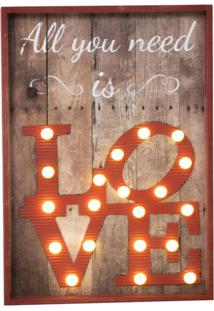 Quadro Decorativo Com Led Love