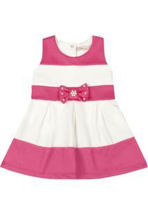 Vestido Infantil - Lacinho Rosa - Listrado Rosa E Branco - Livy Malhas - M