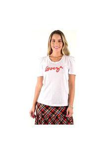 T-Shirt Mamorena Com Bordado Leveza Multicolorido