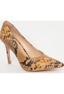 Scarpin Em Couro Com Textura Animal- Amarelo & Pretocapodarte