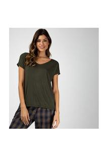 Camiseta Liz Easywear Manga Curta Verde Oliva