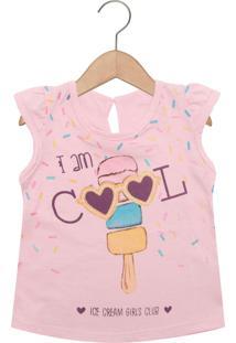 Camiseta Kamylus Sorvete Manga Curta Menina Rosa