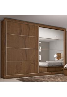Guarda-Roupa Casal Sevilha Espelhado 2 Portas E 6 Gavetas – Made Marcs - Brauna / Off White / Brauna