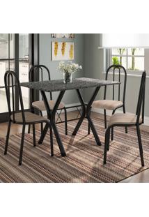 Conjunto De Mesa Miame 110 Cm Com 4 Cadeiras Madri Preto E Nature Bege