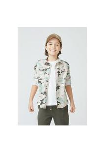 Camisa Infantil Menino Em Sarja Estampada