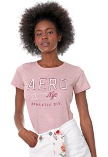 Camiseta Aeropostale Lettering Rosa