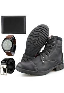 Bota Casual Way Boots Com Cadarço Cano Medio Urbana Preta Mais Cinto,Carteira E Relógio