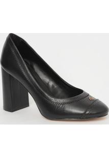 Sapato Em Couro Com Microfuros- Preto- Salto: 9Cmcapodarte