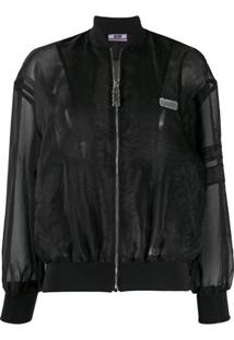 Gcds Sheer Panel Bomber Jacket - Preto