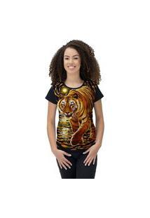 Camiseta Ramavi Feminina Tiger Preto Preto Gg