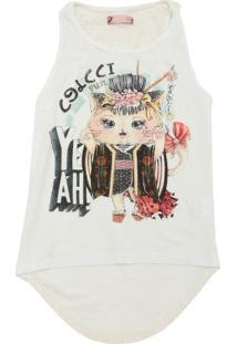 Camiseta Colcci Fun Menina Frontal Off-White