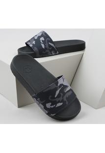Chinelo Slide Infantil Molekinho Estampa Camuflagem Preto