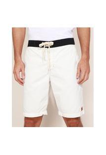 Bermuda De Sarja Masculina Reta Bicolor Com Cordão E Bolsos Off White