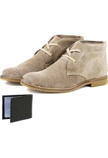 Botina Luxury Desert Boots Estilo Chelsea Sir.W Em Couro Bege