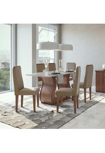 Conjunto De Mesa De Jantar Com 6 Cadeiras Dafne Suede Off White E Bege