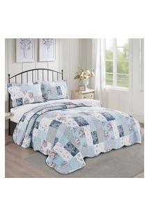Colcha Queen Lausane Camesa Evolution Patchwork 240X260Cm Azul